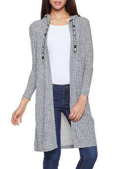 Graphic Drawstring Hooded Duster - 1306015996209
