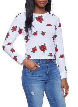 Rose Print Thermal Top - 1306033871888
