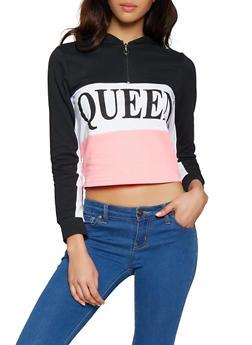 Queen Graphic Half Zip Sweatshirt - 1306033873771