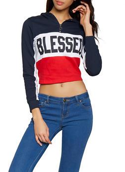 Blessed Graphic Half Zip Sweatshirt - 1306033873781