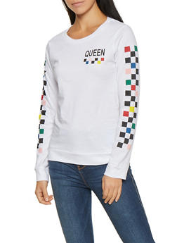 Queen Graphic Checkered Sleeve Tee - 1306033879873