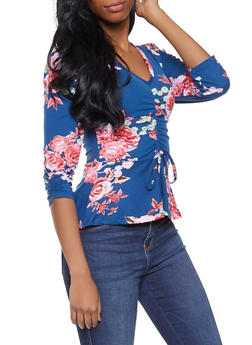 Ruched Floral Top - 1306038342563