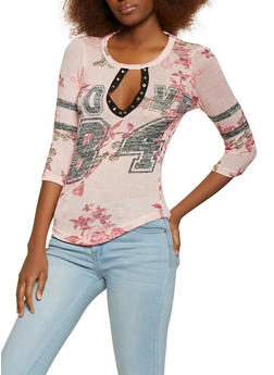 Love Grommet Keyhole Floral Knit Top - 1306038343381
