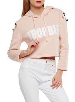 Trouble Maker Graphic Cold Shoulder Sweatshirt - 1306051060027