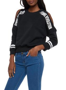 Femme Revolution Cold Shoulder Sweatshirt - 1306051060033