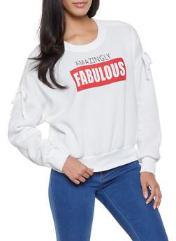 Fleece Lined Graphic Sweatshirt - WHITE - 1306051060133