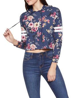 Floral Varsity Stripe Hooded Sweatshirt - 1306058751551