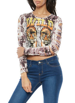 Wild Graphic Slashed Sleeve Top - 1306074290756