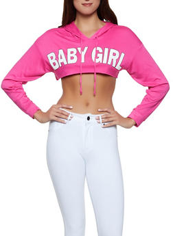 Baby Girl Graphic Hooded Crop Top - 1306074297143
