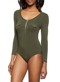 Half Zip Ribbed Knit Bodysuit - 1307015990124