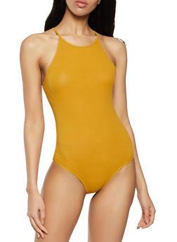 Sleeveless Ribbed Knit Bodysuit - 1307054260409