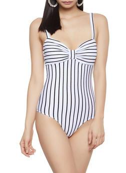 Striped Ponte Bodysuit - 1307054260798