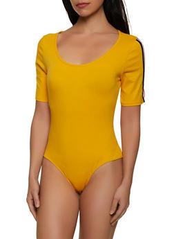 Scoop Neck Short Sleeve Bodysuit - 1307054260919