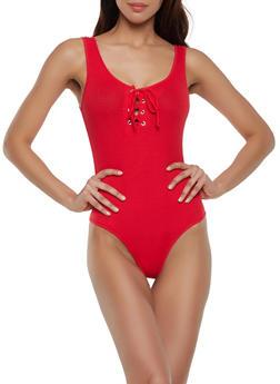 Rib Knit Tie Neck Bodysuit - 1307054260937