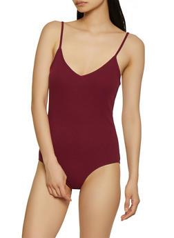 Rib Knit V Neck Bodysuit - 1307054261044