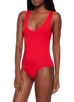 Ribbed Knit Henley Bodysuit - 1307054261061