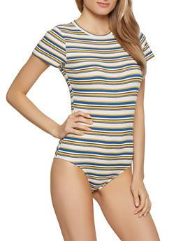 Striped Rib Knit Tee Bodysuit - 1307054261271