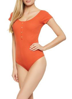 Ribbed Knit Button Bodysuit - 1307054261807