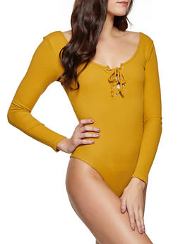 Ribbed Lace Up Bodysuit - 1307054261814
