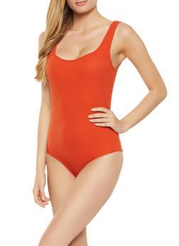 Ribbed Square Neck Bodysuit - 1307054262139
