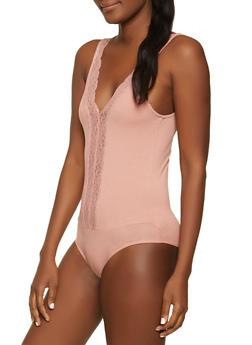 Lace Trim Bodysuit - 1307054262278