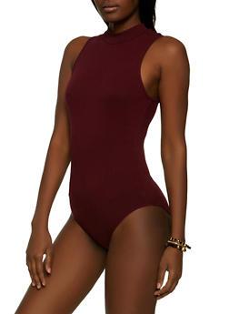 Mock Neck Ribbed Bodysuit - 1307054264160