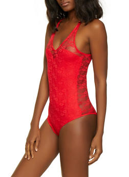 Lace Cami Bodysuit - Red - Size M - 1307054265871