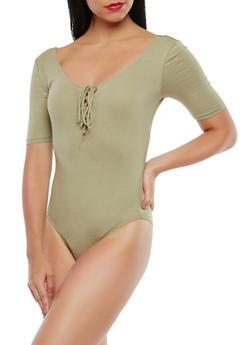 Lace Up Bodysuit - 1307054265882