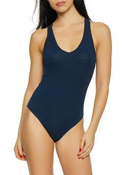 Solid V Neck Bodysuit - 1307054269406