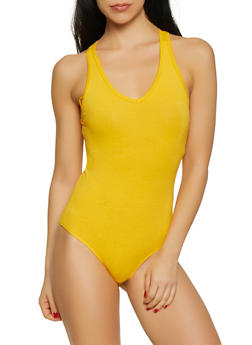 Solid V Neck Bodysuit - 1307054269406