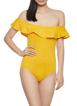 Ruffle Off the Shoulder Bodysuit - 1307054269721