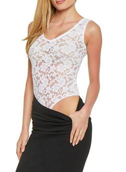 Lace V Neck Bodysuit - 1307054269930