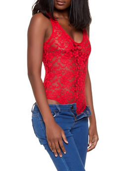 Lace V Neck Bodysuit - Red - Size S - 1307054269930