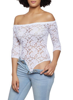 Lace Off the Shoulder Bodysuit - 1307054269931