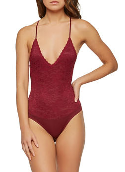 Lace Open Back Bodysuit - 1307054269985