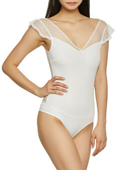 Flutter Sleeve Lace Bodysuit - 1307054269988