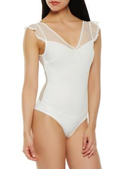 Swiss Dot Lace Bodysuit - 1307054269989