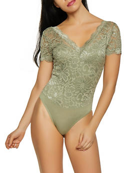 Scalloped Lace V Neck Bodysuit - 1307054269990