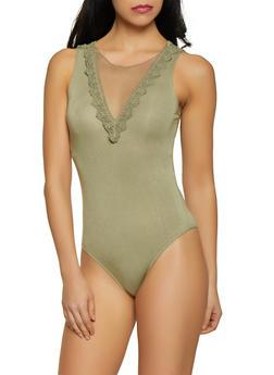 Crochet Trim Tie Back Bodysuit - 1307054269993