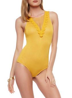 Mesh Crochet Trim Bodysuit - 1307054269994
