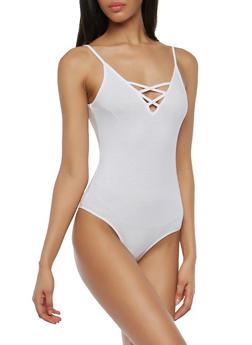 Spaghetti Strap Caged Neck Bodysuit - 1307054269998