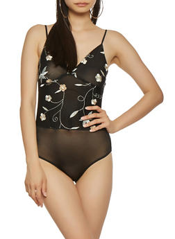 Embroidered Mesh Sheer Bodysuit - 1307058750264