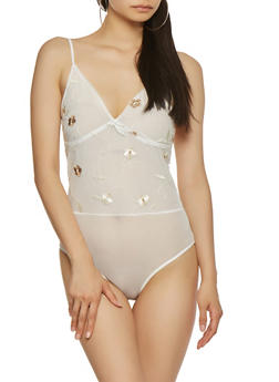 Embroidered Mesh Sheer Bodysuit - 1307058750264