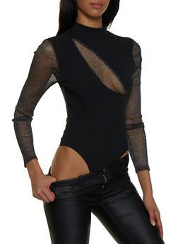 Lurex Insert Thong Bodysuit - 1307058750628