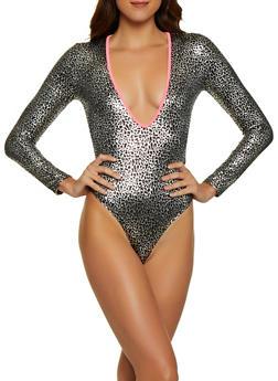 Foil Leopard Print Bodysuit - 1307058750876