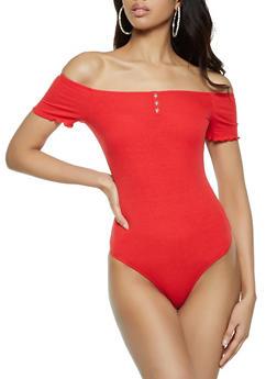 Ribbed Off the Shoulder Bodysuit - 1307058751797