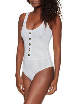 Ribbed Button Detail Thong Bodysuit - 1307058751799
