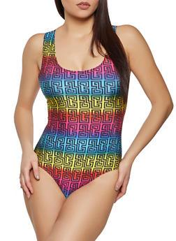 Geometric Print Spandex Thong Bodysuit - 1307058752100
