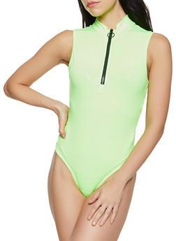 Zip Neck Polka Dot Thong Bodysuit - 1307058752514