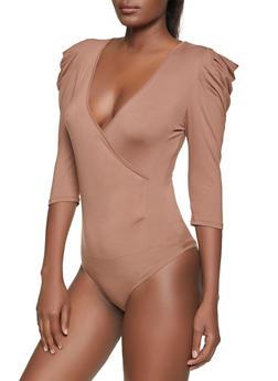 Pleated Sleeve Faux Wrap Bodysuit - 1307058752543